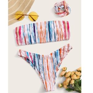 Multicolor bathing suit with matching scrunchie